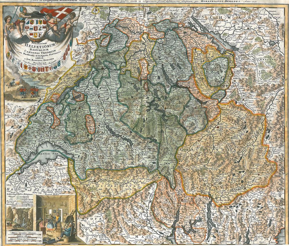 La Cartina Geografica Della Svizzera.Carta Geografica Della Svizzera 1732 Homann