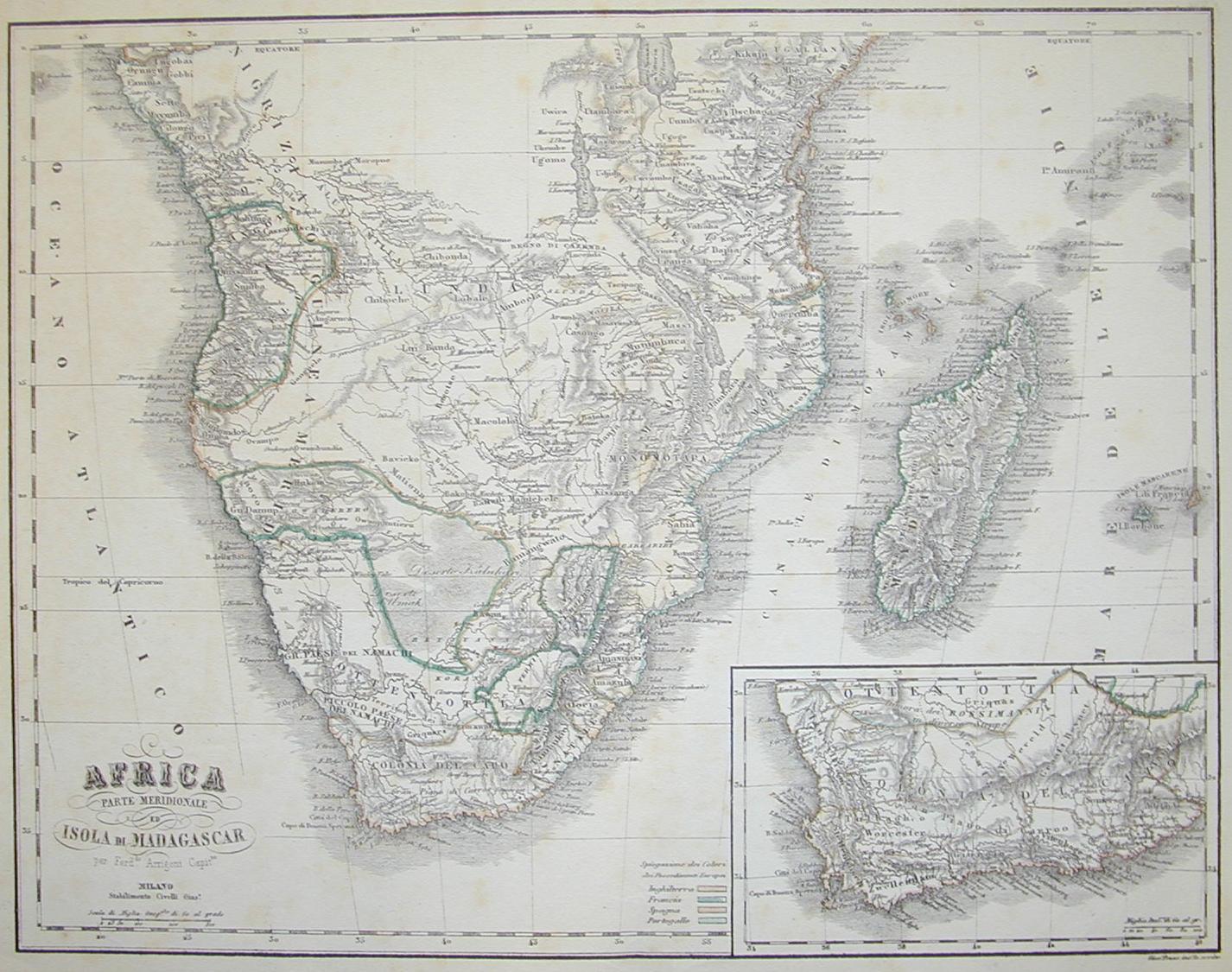 Africa Meridionale e Madagascar 1850