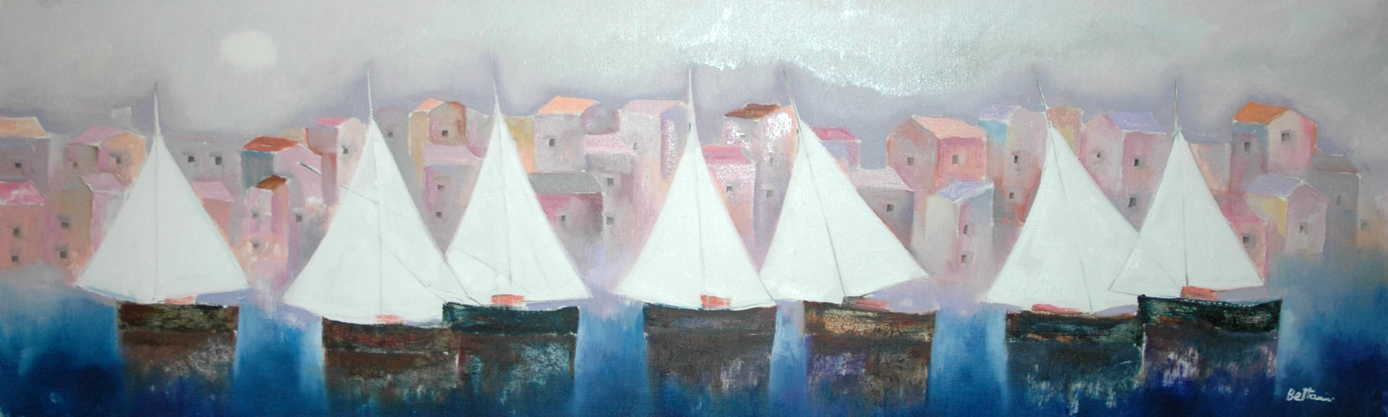 Villaggio sul mare con vele