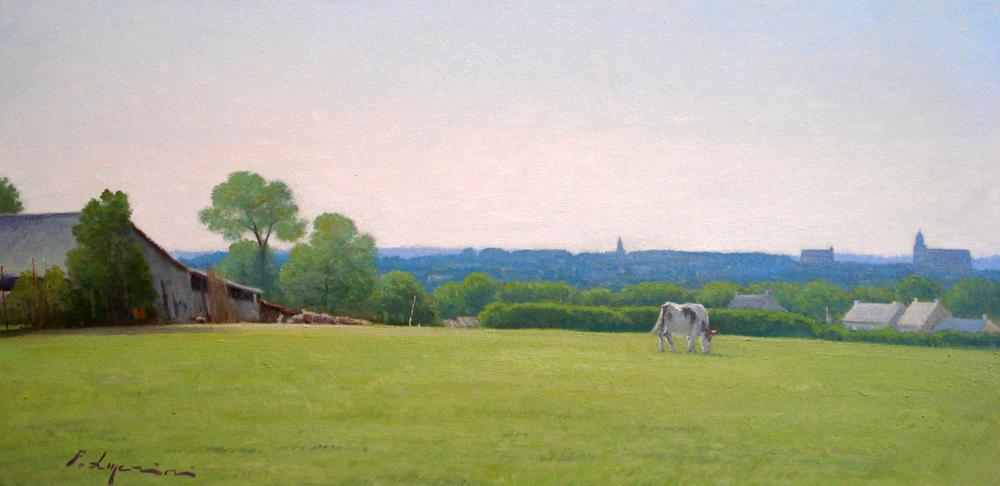 Campagna verso Fougérés con mucca