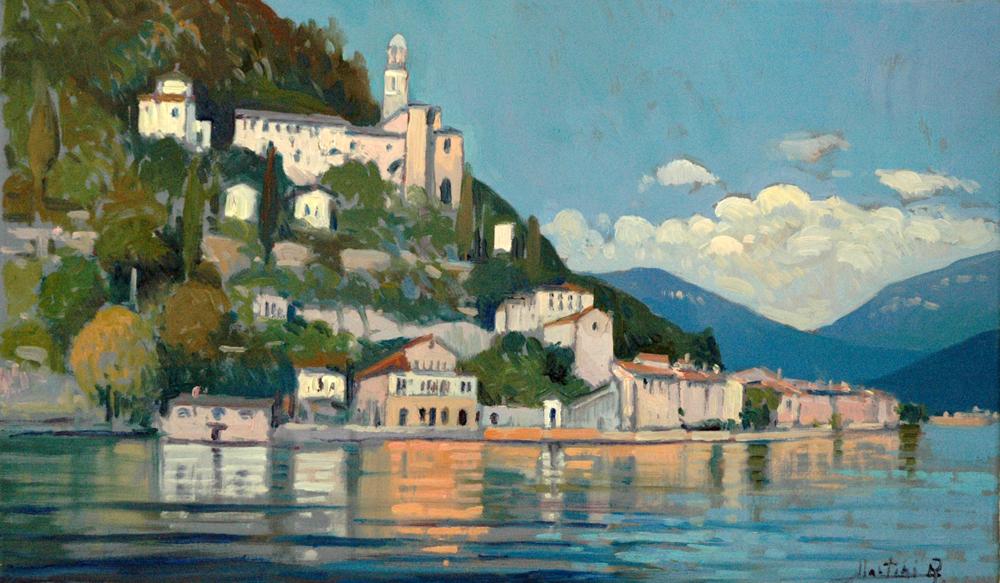 Veduta di Morcote dal lago di Lugano