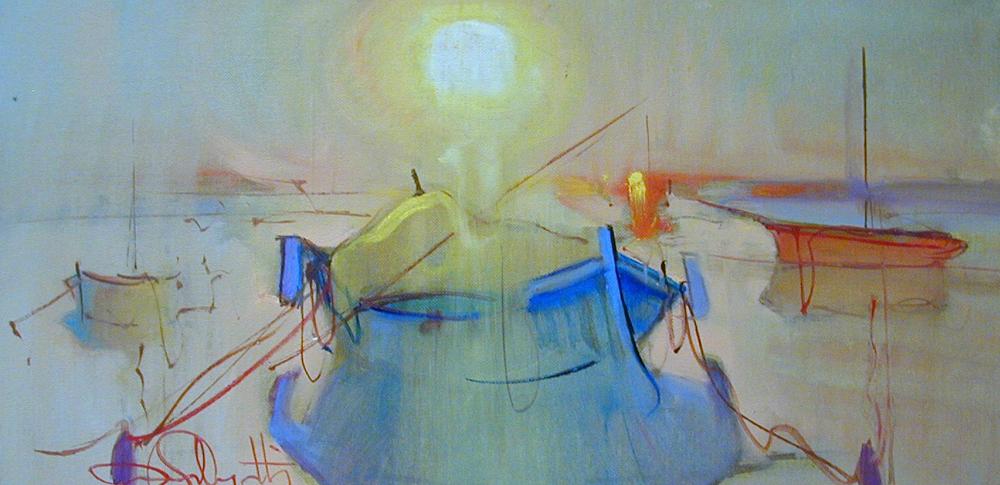 Barca blu al tramonto