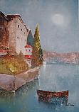 Barchino nel lago di Lugano